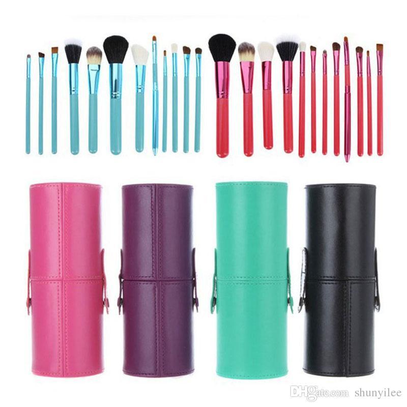 12pcs / lot 메이크업 도구 브러쉬 Fashional 화장품 브러쉬 세트 키트 도구 5 색 얼굴 컵 홀더 케이스 ZA2032 브러쉬를 확인하십시오