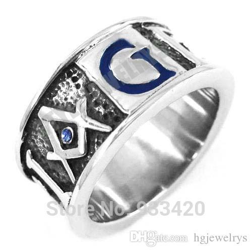 Free Shipping!Blue G Crystal Masonic Ring Stainless Steel Jewelry GEOMETRI Carve Words Freemasonry Motor Biker Men Ring SWR0358B