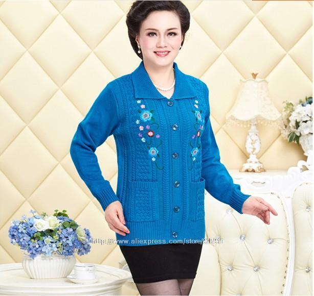 Großhandels- 2017 Herbst Winter Frauen Pullover mittleren Alters und alte Frauen dicke Strickjacke Revers Casual langärmelige Mom Sweater Z3400