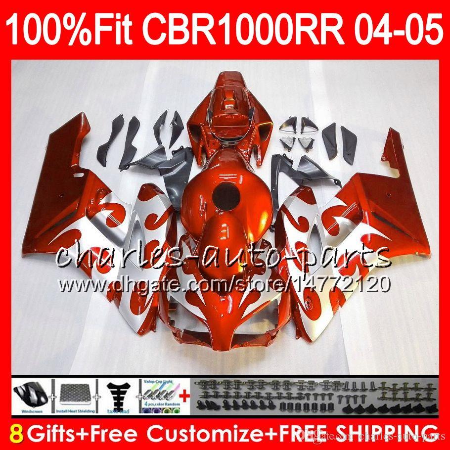 Injektionskropp för Honda Ljus Orange CBR 1000RR 04 05 Bodywork CBR 1000 RR 79HM12 CBR1000RR 04 05 CBR1000 RR 2004 2005 Fairing Kit 100% Fit