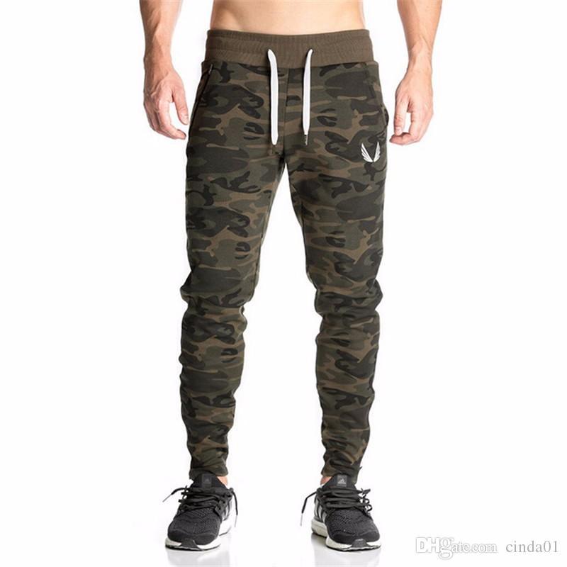 New Casual Fitted Bottoms Treino Camuflagem Ginásio Calças Corredores Esportes Dos Homens Calças de Suor Elástico Ginásio Bodybuilding Sweatpants