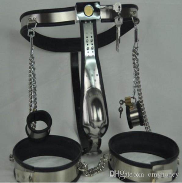M129 new bondage male stainless steel lockable & adjustable chastity devices with penis ring cock cage & ankle restraint , sex toys for men
