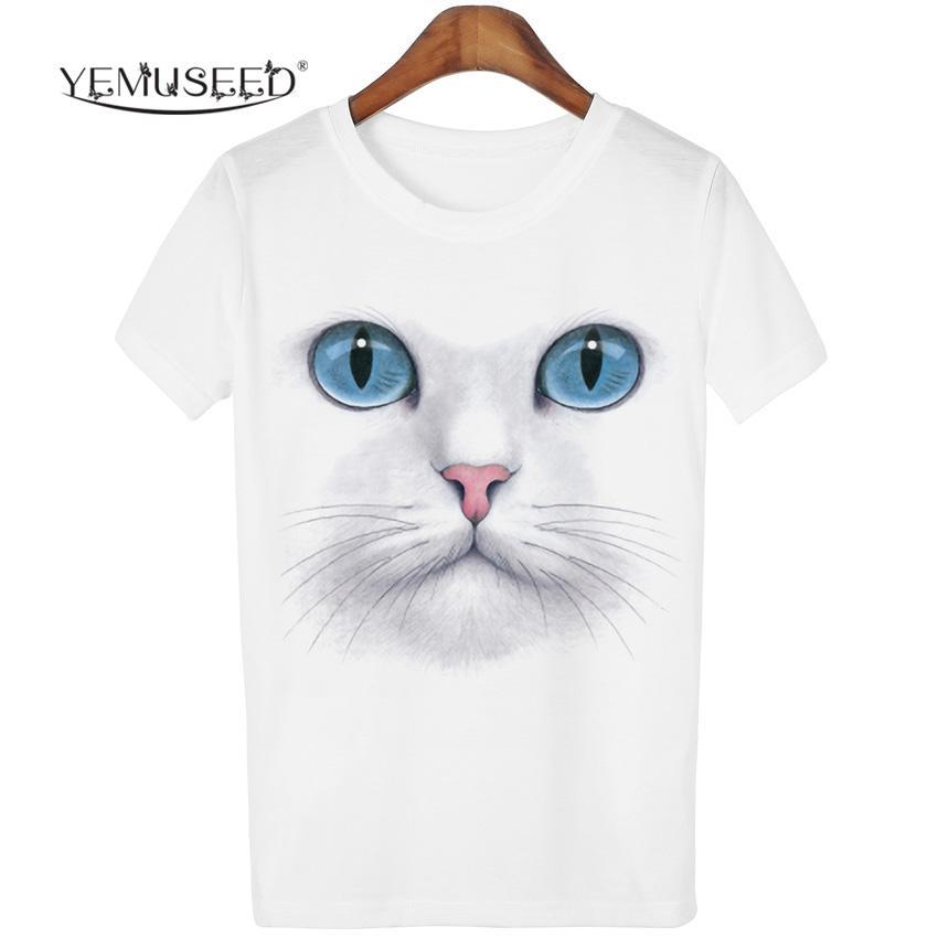 Al por mayor-YEMUSEED 3D Tops Harajuku Cat camiseta Mujeres Casual kawaii Blusa tumblr T-shirt Tees Plus Size XL