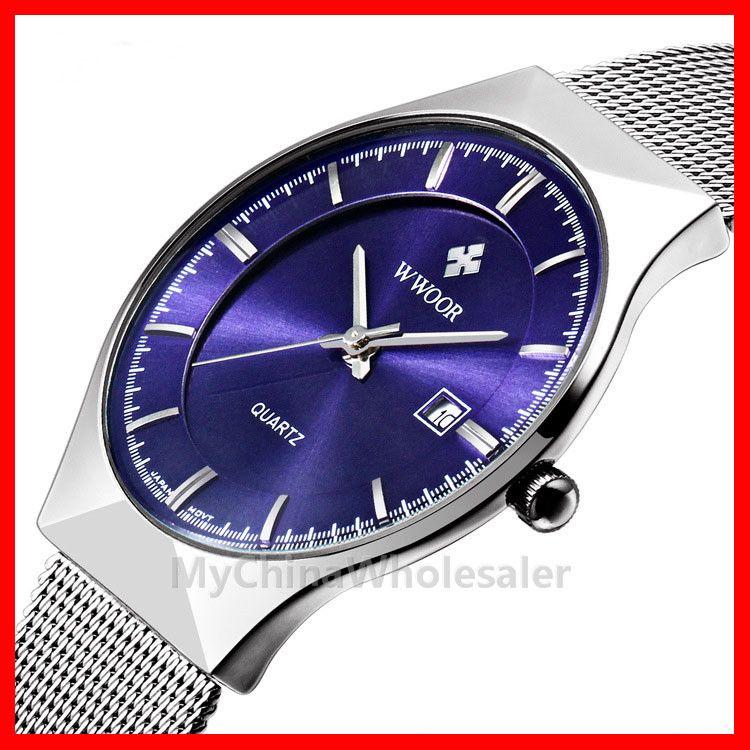 5pcs/lot, WWOOR Watches New Top Luxury Watch Men Brand Men's Watches Ultra Thin Stainless Steel Mesh Band Quartz Wristwatch Fashion Watches