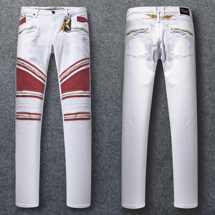 Робин молния джинсы классические мужские дизайнерские джинсы байкер мыть шипованных Ковбой тонкий джинсовые брюки с Крыльями Жан мужские узкие брюки
