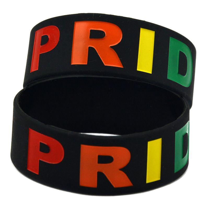 50PCS larghezza di un pollice Debossed Gay Pride gomma di silicone nero Bracciale adulto di formato per il regalo di promozione