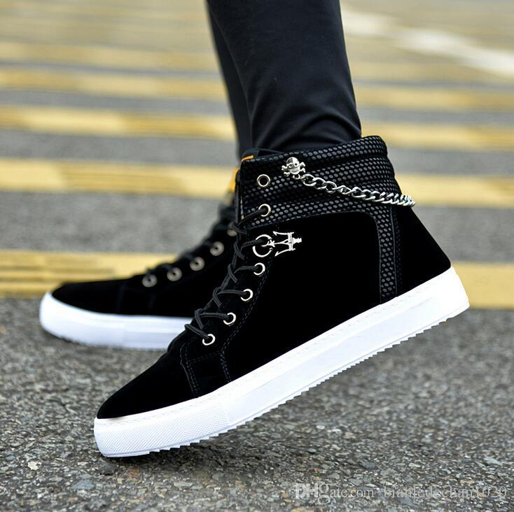 2017 spring and autumn men's shoes fashion chain canvas shoes high to help free board shoes free shipping