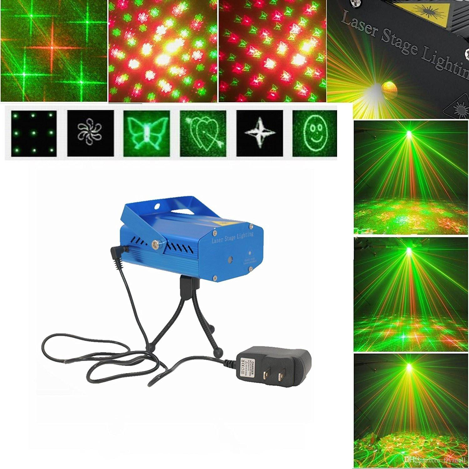More Patterns LED Mini Laser Stage Lights 150mW Red&Green Laser Projector Light DJ Party Disco Dance Floor Light Voice-activated Stage Light