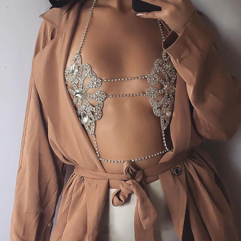 Catena della collana del corpo sexy Fiori signora il 2017 Dichiarazione di gioielli di moda Bra collana Boho di estate di lusso Brassiere Donne 5241