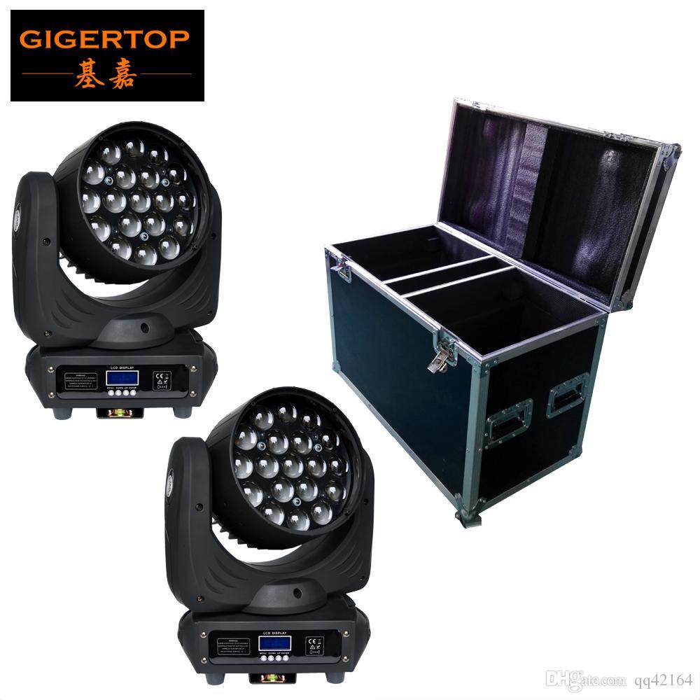 2in1 Flightcase Paketi 19 * Baş Yakınlaştırma Işık OSRAM LED RGBW 4IN1 Renk Yakınlaştırma 6-50 Derece DMX 16Kanal CE ROHS ayarlayın Karıştırma Hareketli 12W Led