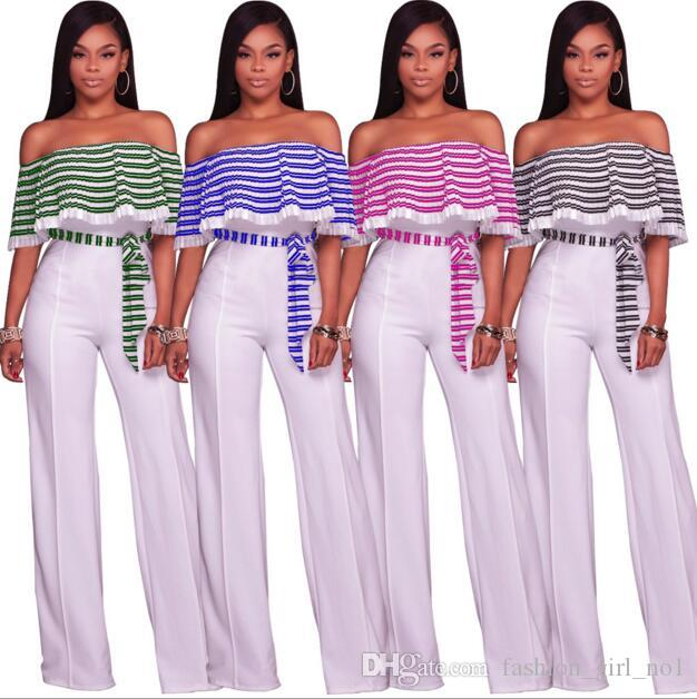 New European And American Style long Rompers Women's Sexy Jumpsuits Fashion Lotus leaf Jumpsuits Wide-leg Trousers