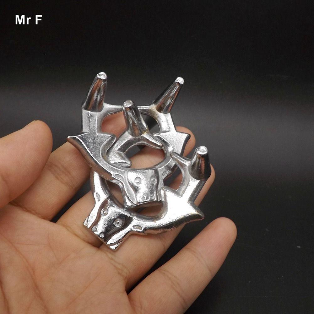 Silbrig Cast Puzzle Ox Schnalle IQ Denkaufgabe Test Metall Ring Puzzle Spielzeug Kid Trick Spiel Weihnachtsgeschenk Kind
