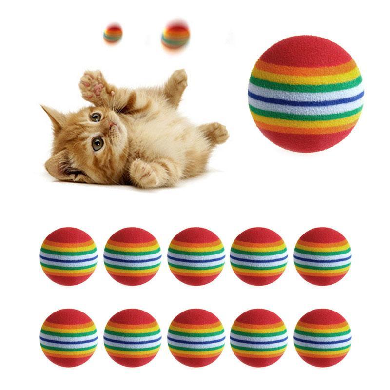Красочные Cat Toy Ball интерактивные Cat игрушки играть жевать погремушка царапинам натуральный пенный мяч обучение Pet поставки