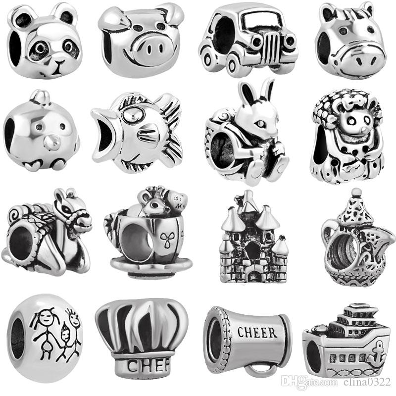 free shipping MOQ 20pcs silver panda bird mouse mother family car pig big hole bead charm fit pandora european style bracelet necklace