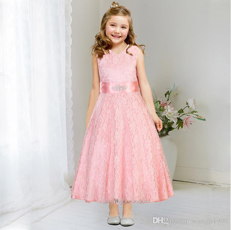 2017 Summer Flower Lace Teen Girls Wedding Pageant Party Dresses ...