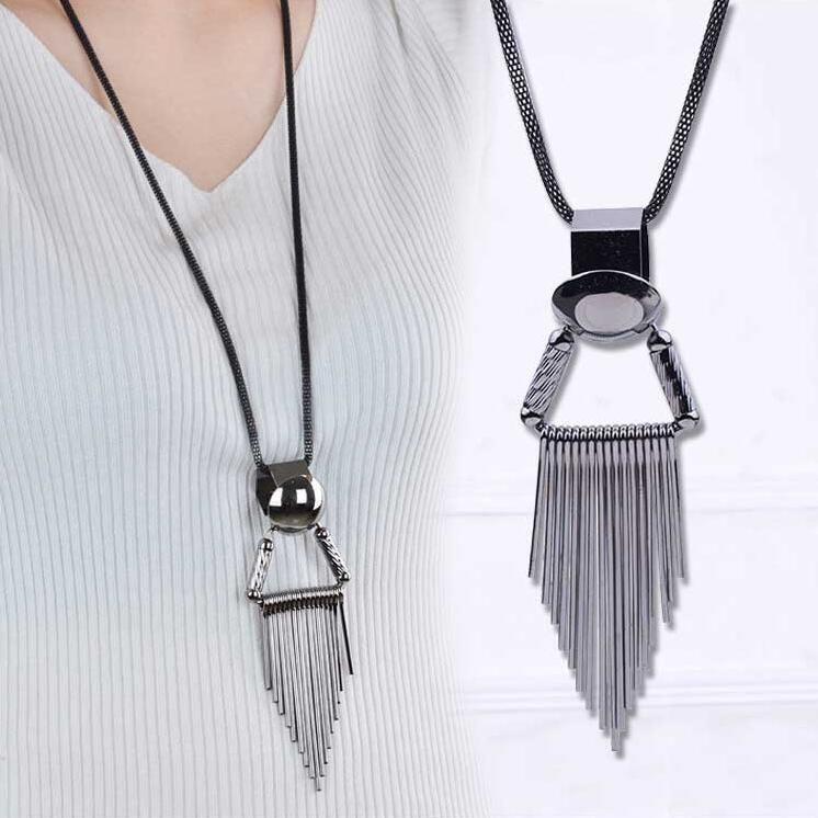 Треугольник кисточкой ожерелье одежда аксессуары мода висит цепь сплава кулон кисточкой ожерелье бесплатная доставка