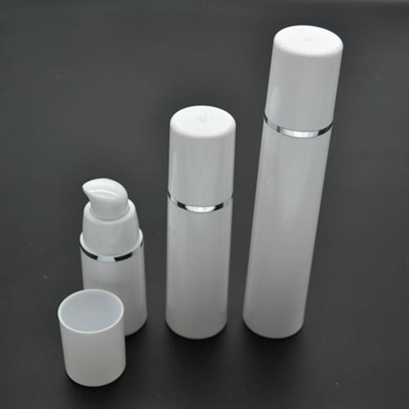 50pcs 15ml Cylindrical Silver Edge Plastic Emulsion Pompa Airless Mini Bottiglia Vuota Cosmetic Sample Packaging Container SPB101