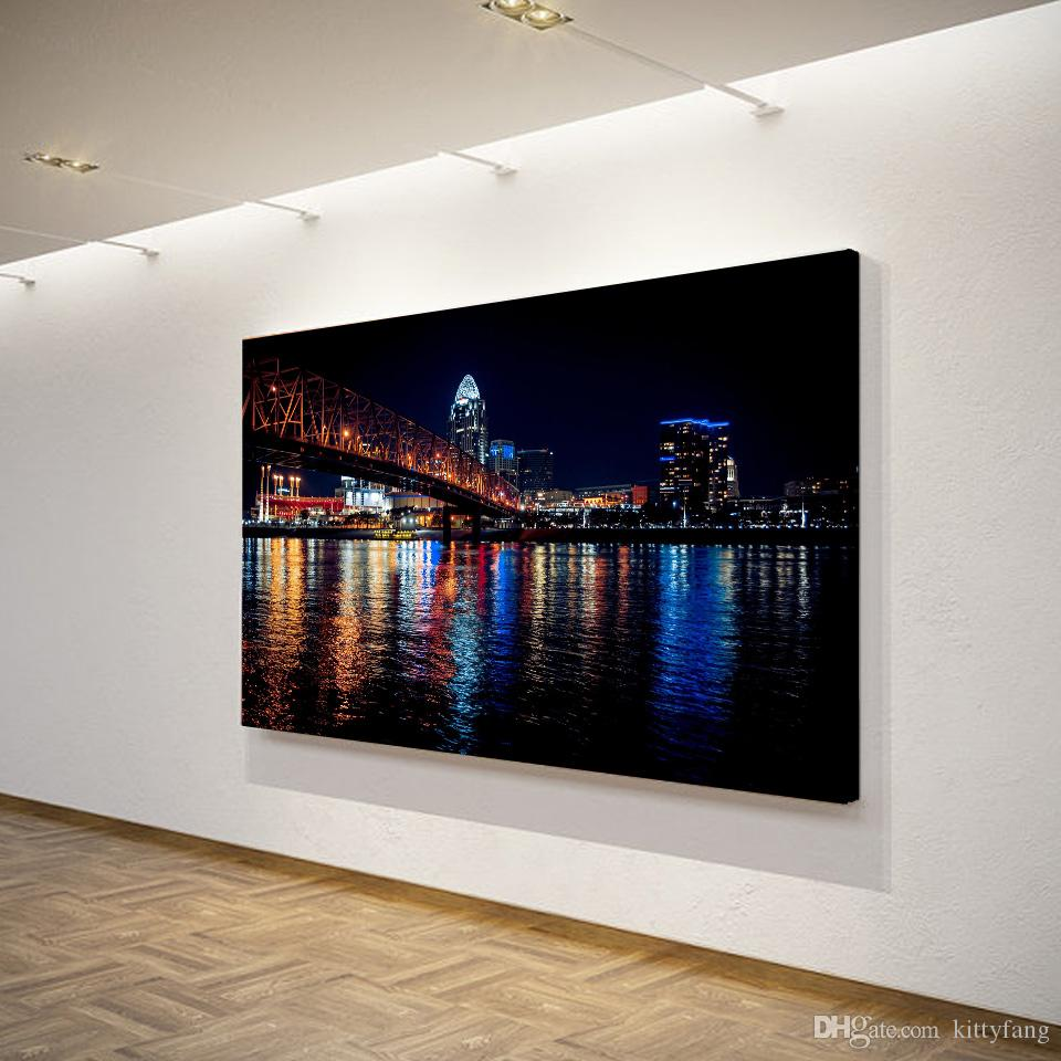 1 Pcs Canvas Art Poster City Night Bridge HD Canvas Painting Wall Art Canvas Prints Home Decor Pictures for Living Room XA1450C