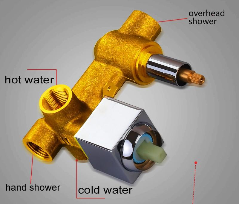 Valve Mixer,Solid Brass In Wall Concealed Bathroom Shower Control Switch Valve Hot &Cold Water Shower Switch Mixing Valve (7)