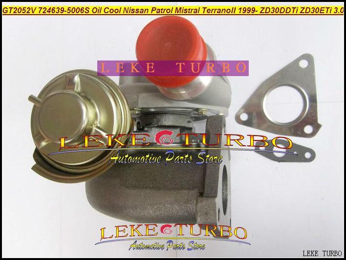 GT2052V 724639-5006S 705954-0015 wind cooled Oil Cooled Turbocharger Turbo For Nissan Patrol MISTRAL Terrano II 1999- ZD30DDTi ZD30ETi 3.0L (1)