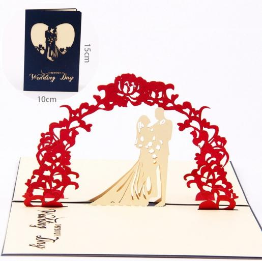 New Design 3D Wedding Invitation Cards Manual Handmade Card Decoration Greeting with Envelope Hollow Sweet Red Paper Folded