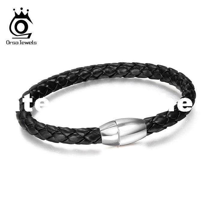 ORSA New Fashion Top Grade Titanium Steel Male Bracelets Men Leather Magnet Buckle Bracelet OTB31