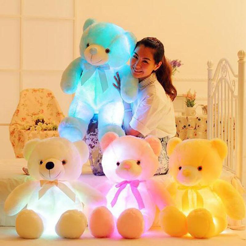 50cm And 80cm Creative Light Up LED Inductive Teddy Bear Stuffed Animals Plush Toy Colorful Glowing Teddy Bear Christmas Gift for Kids
