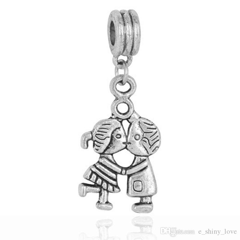 Wholesale 20pcs little girl antique silver charms pendant jewelry DIY 15*7mm