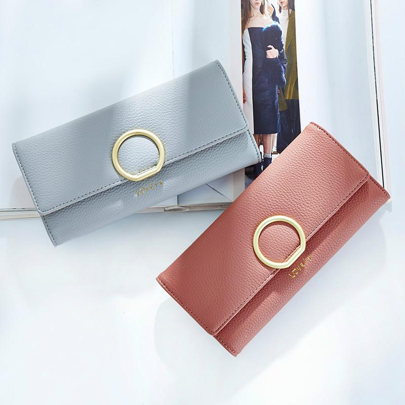 New ladies PU leather women wallet Japan Korea version multi-card large-capacity round buckle three fold lady long purse