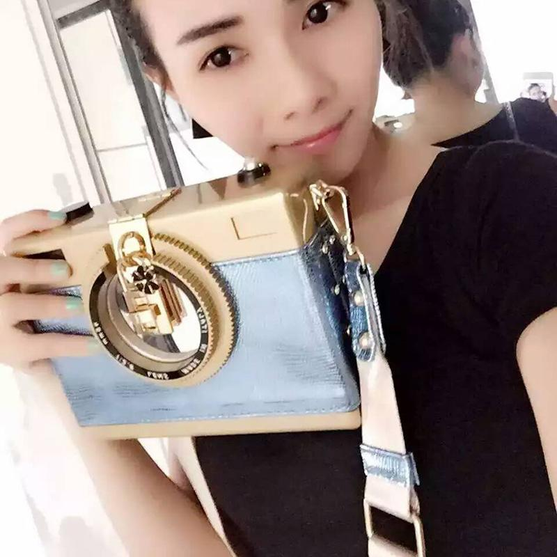 2019 personalize brand camera bags acrylic evening bag patchwork snakeskin stylish women kamera clutch camcorder strap messenger - XJB02