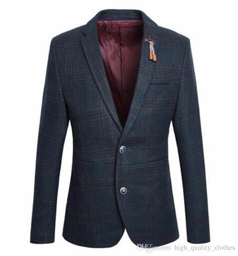 유럽과 영국의 비즈니스 및 레저 여행자 한 남자가 새로운 패션 부티크 격자 천으로 재킷 / M - 2XL