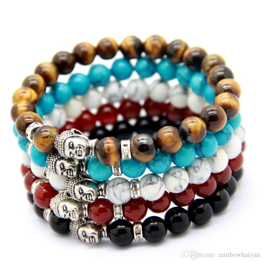 Wholesale 10 pcs/lot Men's Beaded Buddha Bracelet, Turquoise, Black Onyx, Red Dragon Veins Agate, Tiger Eye Semi Precious stone Jewerly