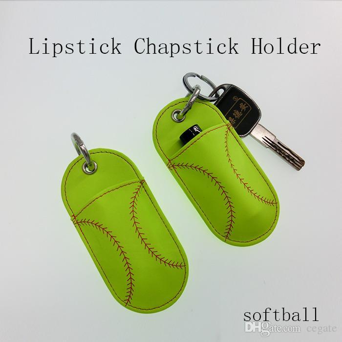100pcs Softball And Baseball Printed Neoprene Chapstick Keychain Holder Party Holiday Gifts Free DHL