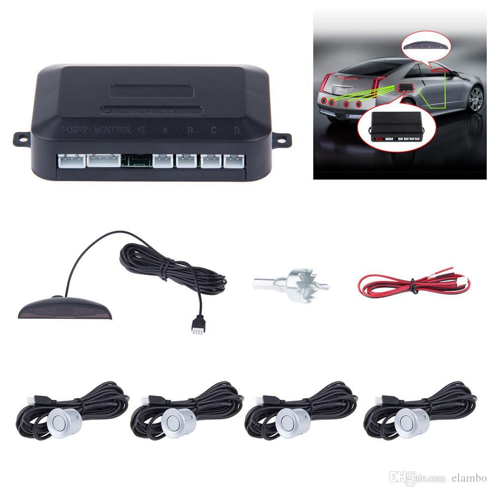 Car Parking Sensor Kit No Hole Saw Buzzer / LED / LCD Display Backup Radar Monitor System 12V 8 Colors 4 Sensors 22mm