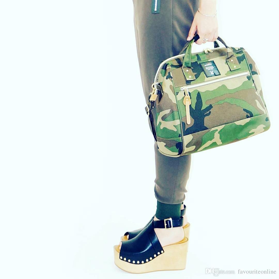 Anello Japan Boston Bags Unisex Camouflage Shoulder Bags Cross Body Pig Nose Waterproof Nylon Single Casual Handbags Big Size
