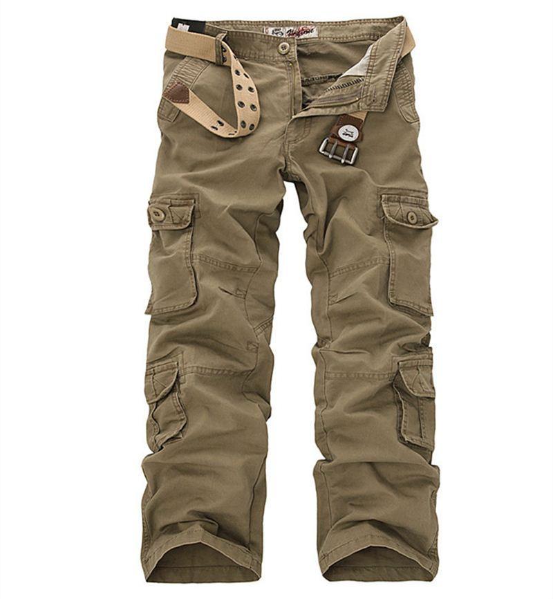 Plus Size Cargo Pants Hommes 28-46 Coton Solide Haute Qualité Lâche Pantalon Militaire Marque De Mode Vêtements Casual Hommes Pantalons
