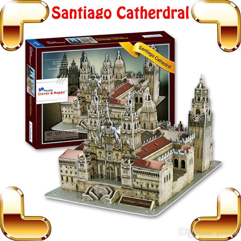 Yeni Coming Hediye Santiago Katedrali 3D Bulmaca Bina Kilise Modeli Bulmaca Oyunu DIY Dekorasyon Mümin Mevcut PUZ Oyuncaklar IQ Öğe