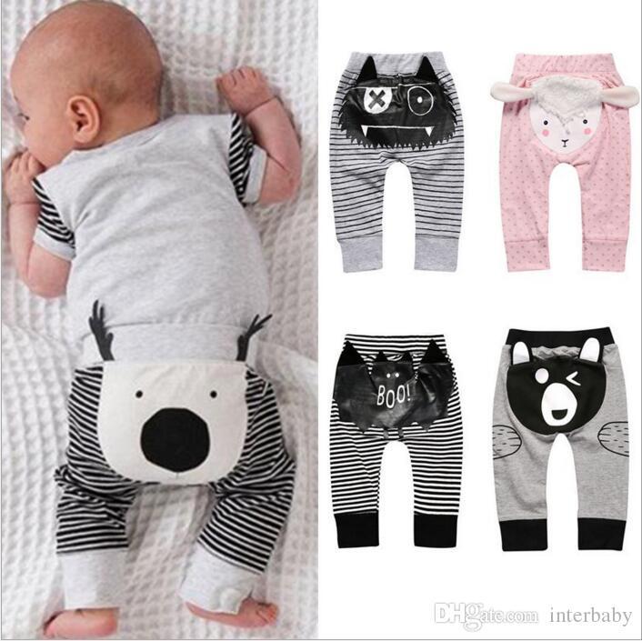 Çocuklar Giyim Ins PP Pantolon Bebek Ins Harem Pantolon Bebek Günlük Moda Pantolon Kız Çizgili Karikatür Tozluklar Gevşek Baggy Pantolon Tayt B3206