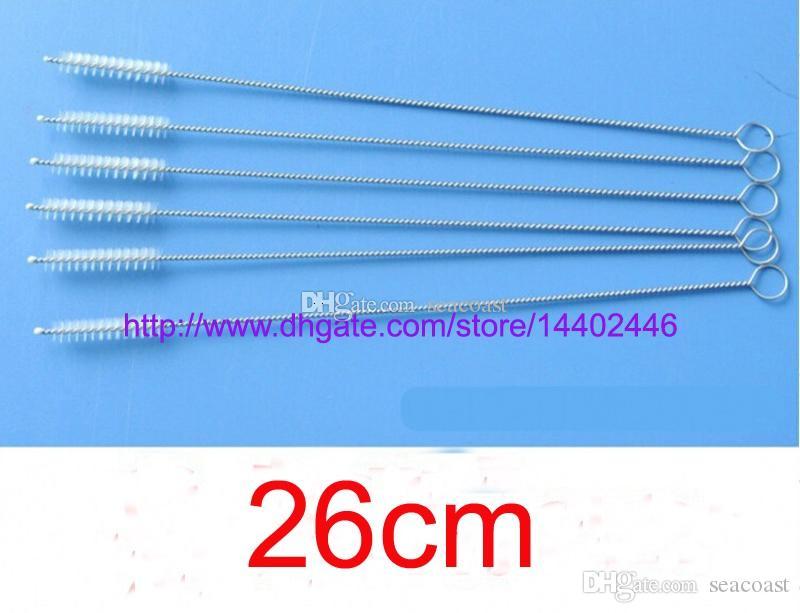 50pcs 26cm de long 0.6cm En acier inoxydable Brosse de nettoyage paille brosses tuyau de nettoyage Nettoyer brosse