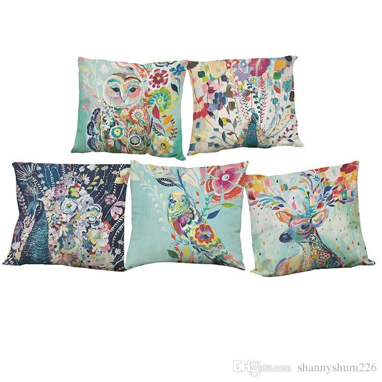 Watercolor Peacock Pattern Linen Pillowcase Sofa Home Decor Cushion Cover Without Insert (18*18inch)