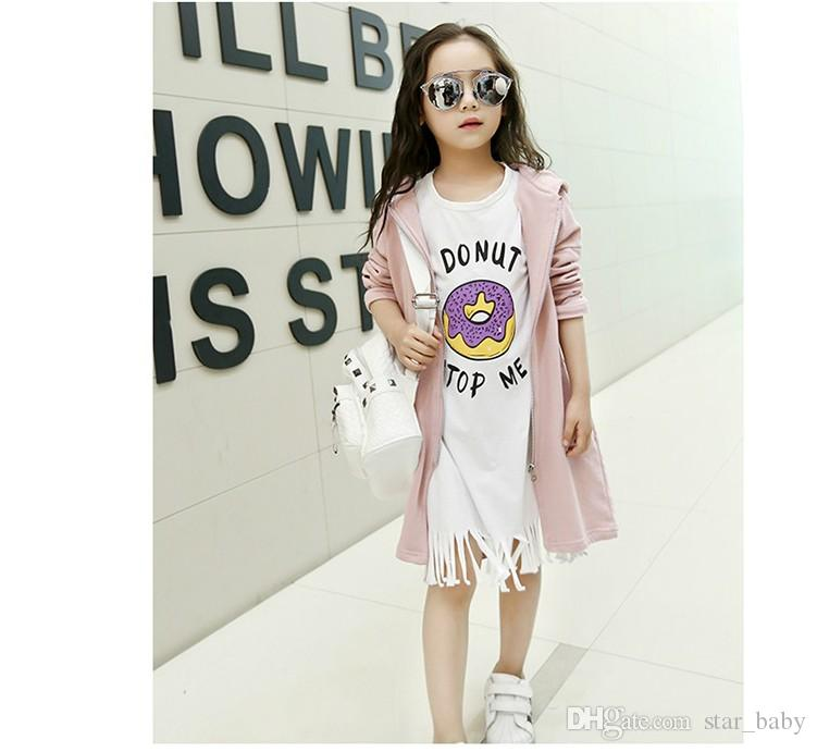2016 Children Girls Micky Mouse Printed Long Sleeve Coat + White Basic Tassel Shirt 2 pcs Outfits Kids Girl Grey Pink Coat Set B4378