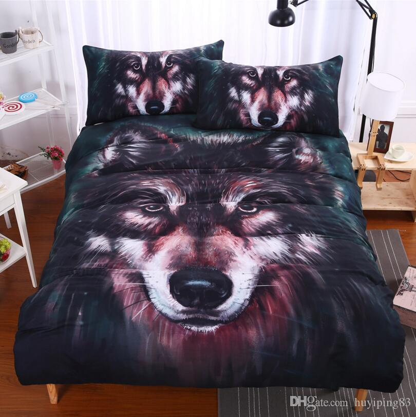 Winter Wolf Print Duvet Quilt Cover Bedding Set With Pillow Cases 3D Effect