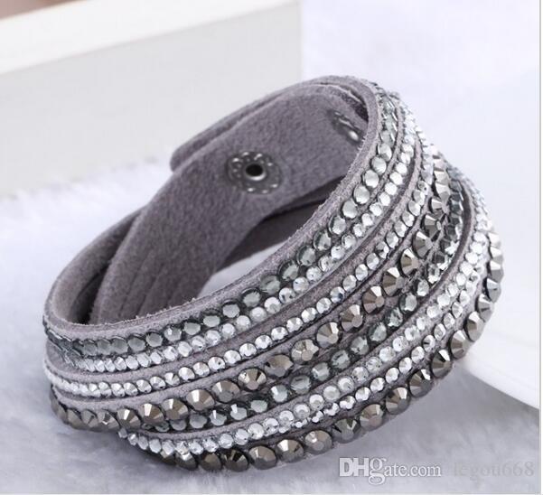 2017 nuevo cuero pulseras de cristal pulsera del Rhinestone pulsera del abrigo del multicapa para las mujeres Pulseras G24 joyería mulher