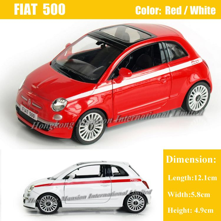1:36 Scale Alloy Diecast Metal Car Model For Fiat 500 Collection Model Pull Back Toys Car - Red / White / Yellow / Black