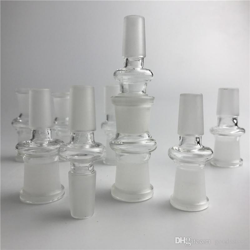 Adattatore in vetro 14mm 18mm Maschio Femmina Adattatore in vetro da Bong con adattatori in vetro per bocchette per fognatura