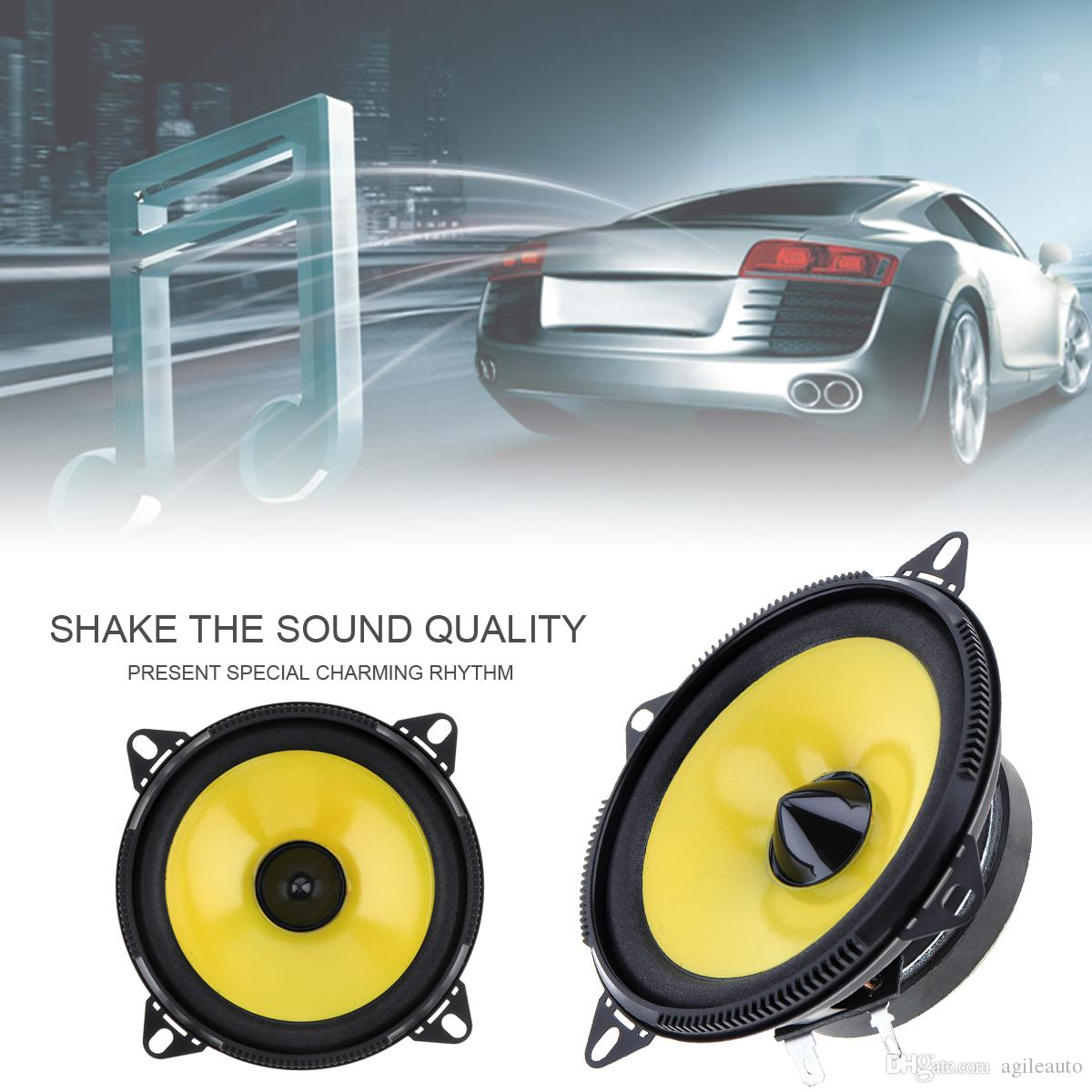 Yellow and Black Color 2 pcs 4 inch 80W 2-Way Full Range Frequency Car Audio Stereo Speaker Car Speaker CAU_402