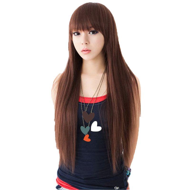 Woodfestival negro peruca natural perucas femininas longas reta fibra sintética cabelo suave realista mulheres marrons 68cm