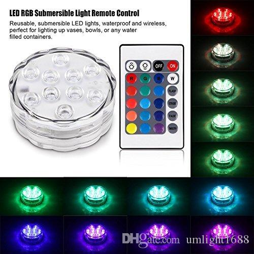 10PCS LED RGB LED Light Submersible MultiColor Waterproof Remote Controller Lot