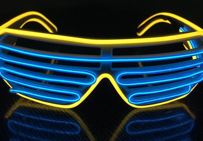 Nuovo LED doppie tende di colori incandescenti Occhiali El Filo hanno portato DJ lampeggiante occhiali di Halloween di Natale Festa di compleanno 15color