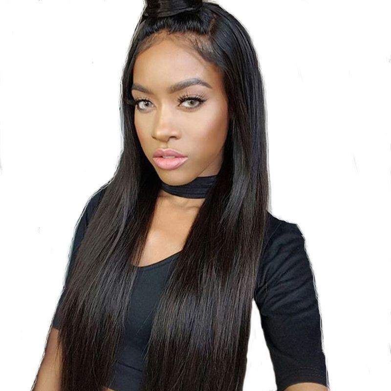 Tam End İpeksi Düz Dantel Ön İnsan Saç Peruk% 100% Brezilyalı Bakire Saç Peruk Ön Koparıp Tam Dantel İnsan Saç Peruk Siyah Kadın için